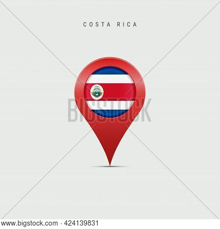 Teardrop Map Marker With Flag Of Costa Rica. Costa Rican Flag Inserted In The Location Map Pin. Vect