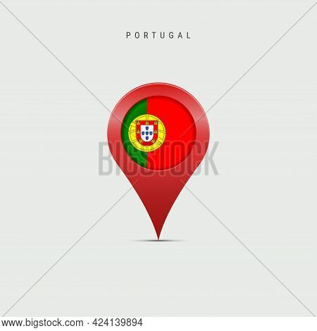 Teardrop Map Marker With Flag Of Portugal. Portuguese Flag Inserted In The Location Map Pin. Vector