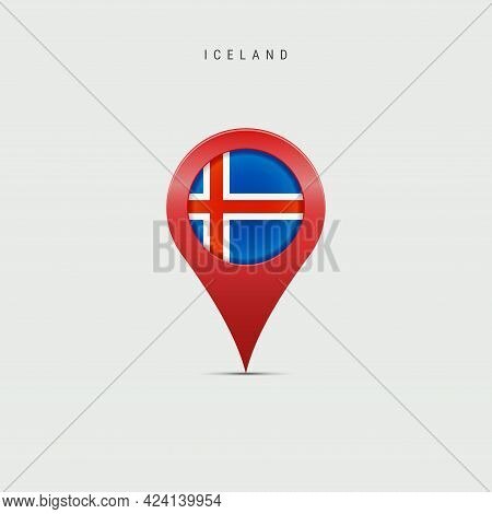 Teardrop Map Marker With Flag Of Iceland. Icelandic Flag Inserted In The Location Map Pin. Vector Il