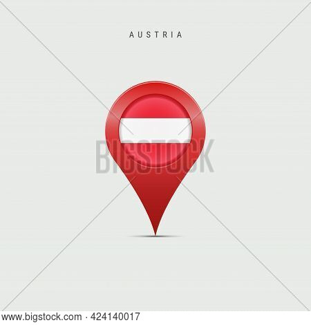 Teardrop Map Marker With Flag Of Austria. Austrian Flag Inserted In The Location Map Pin. Vector Ill