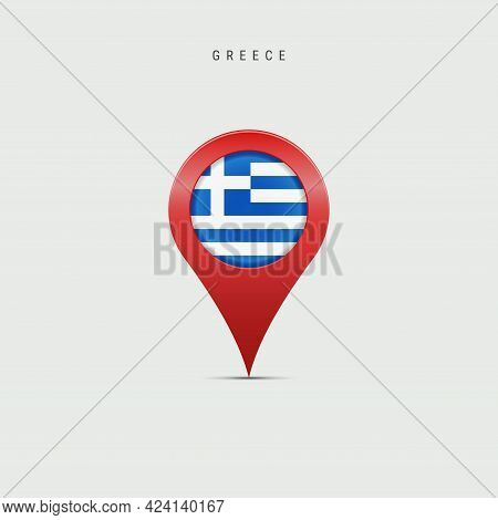 Teardrop Map Marker With Flag Of Greece. Greek Flag Inserted In The Location Map Pin. Vector Illustr