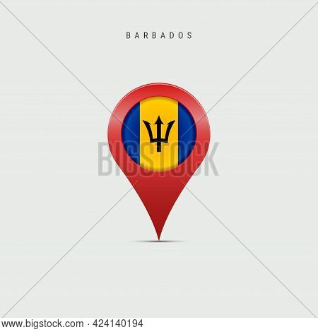 Teardrop Map Marker With Flag Of Barbados. Barbadian Flag Inserted In The Location Map Pin. Vector I