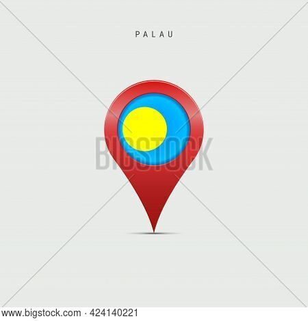 Teardrop Map Marker With Flag Of Palau. Palauan Flag Inserted In The Location Map Pin. Vector Illust