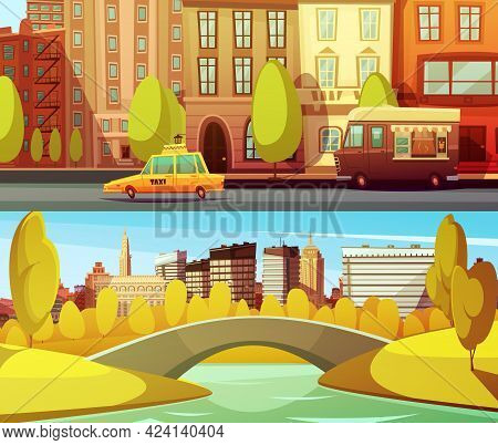 New York Horizontal Banners With City Transport In Downtown And Central Park In Island Manhattan Fla