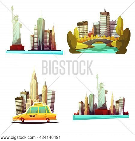 New York Downtown 2x2 Cartoon Compositions With Skylines Statue Of Liberty Yellow Cab Central Park E