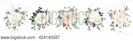 Eucalyptus And White Roses, Ranunculus Vector Design Bouquets