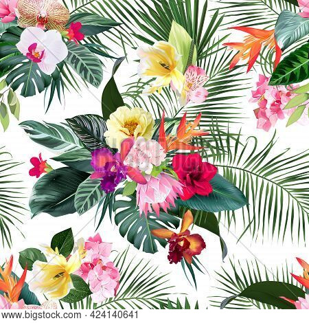 Exotic Tropical Flowers, Orchid, Strelitzia, Hibiscus, Protea, Ylang-ylang, Palm, Monstera Leaves