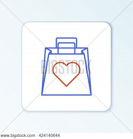 Line Shopping Bag With Heart Icon Isolated On White Background. Shopping Bag Shop Love Like Heart Ic
