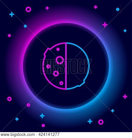 Glowing Neon Line Eclipse Of The Sun Icon Isolated On Black Background. Total Sonar Eclipse. Colorfu