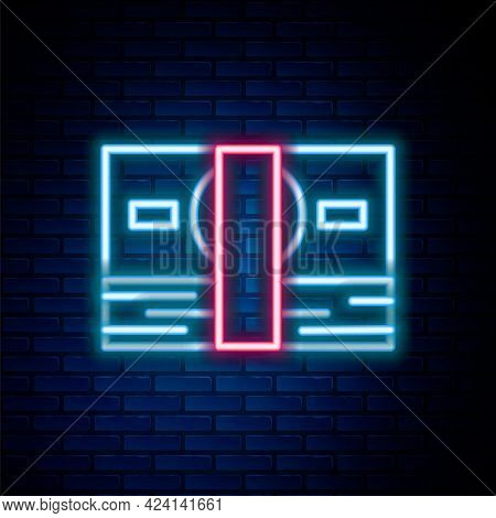 Glowing Neon Line Stacks Paper Money Cash Icon Isolated On Brick Wall Background. Money Banknotes St