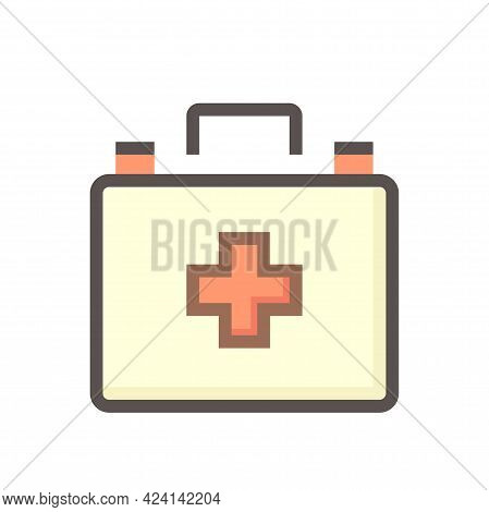 First Aid Kit Vector Icon. Consist Of Portable Bag, Case Or Box, Cross Sign, Supplies Safety Equipme