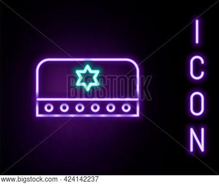 Glowing Neon Line Jewish Kippah With Star Of David Icon Isolated On Black Background. Jewish Yarmulk