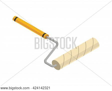Roller Isometric Hand Tool. Detailed Icon Of Tool For Handyman Repair. Vector Equipment Of Builder I