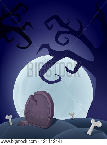 Halloween Background With Graveyard, Grave, Moon And Creepy Tree