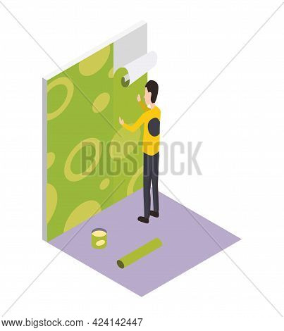 Isometric Worker. Home Repair Isometric Form With Craftsman Pasting Wallpaper. Professional People W