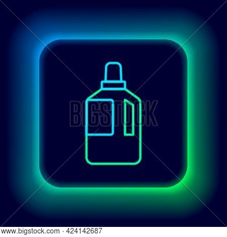 Glowing Neon Line Fabric Softener Icon Isolated On Black Background. Liquid Laundry Detergent, Condi