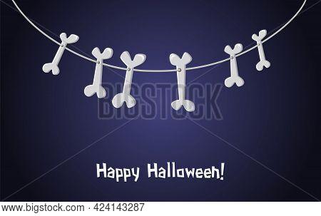 Happy Halloween Vector Illustration For Design With Hanging Bones