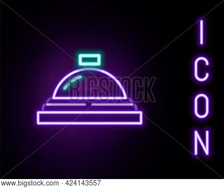 Glowing Neon Line Hotel Service Bell Icon Isolated On Black Background. Reception Bell. Colorful Out
