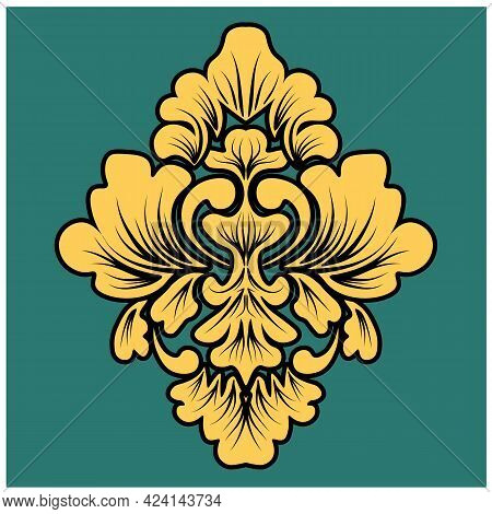 Damask Element In Classic Style On Green Background. Royal Template. Silhouette Vector. Vector Patte