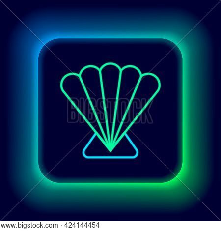 Glowing Neon Line Scallop Sea Shell Icon Isolated On Black Background. Seashell Sign. Colorful Outli