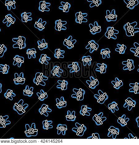 Line Teeth With Braces Icon Isolated Seamless Pattern On Black Background. Alignment Of Bite Of Teet