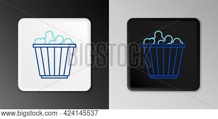 Line Popcorn In Cardboard Box Icon Isolated On Grey Background. Popcorn Bucket Box. Colorful Outline