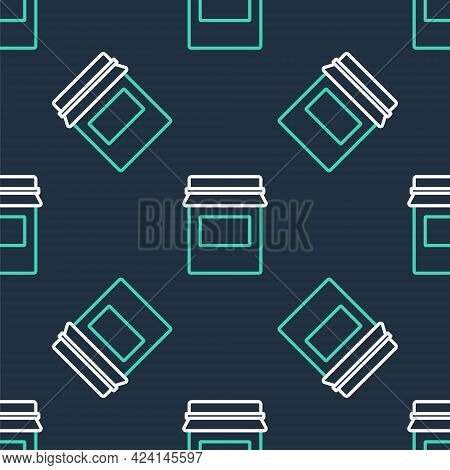 Line Jam Jar Icon Isolated Seamless Pattern On Black Background. Vector