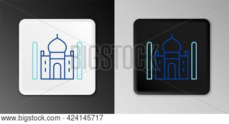 Line Taj Mahal Mausoleum In Agra, Indiaicon Isolated On Grey Background. Colorful Outline Concept. V