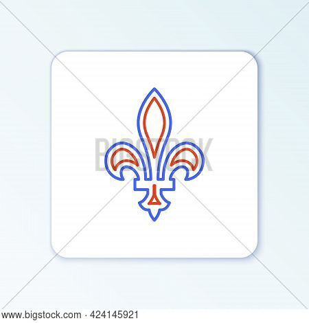 Line Fleur De Lys Icon Isolated On White Background. Colorful Outline Concept. Vector