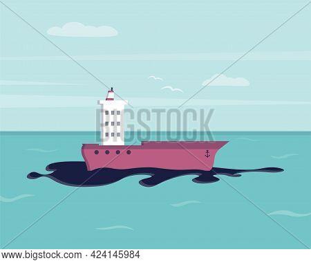 Oil Spill On Water. Ecological Disaster. Environmental Pollution. Ecological Problem. Vector Illustr