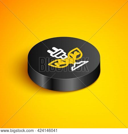 Isometric Line Electric Saving Plug In Leaf Icon Isolated On Yellow Background. Save Energy Electric