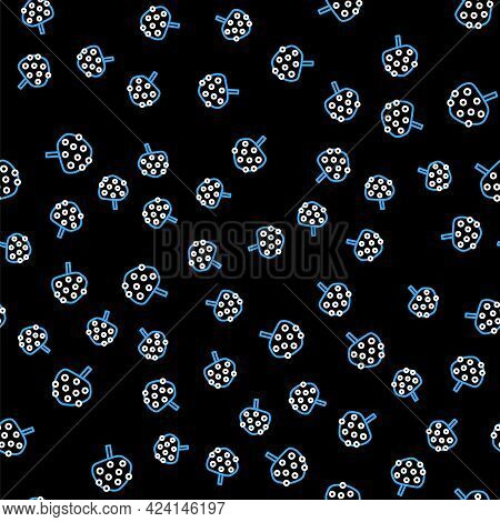 Line Orange Tree With Fruits Icon Isolated Seamless Pattern On Black Background. Vector