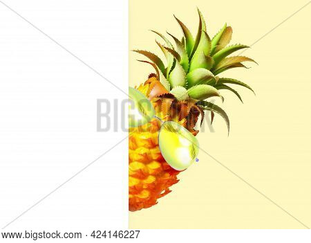 Pineapple With Green Sunglasses On The White And Yellow Background.