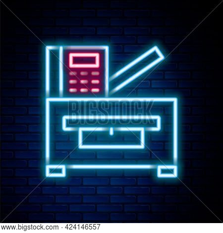 Glowing Neon Line Office Multifunction Printer Copy Machine Icon Isolated On Brick Wall Background.