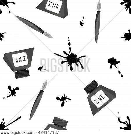 Pen And Ink Set Seamless Pattern. Hand Drawn Vector. Pens And Ink Collection Isolated Over White Bac