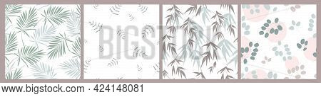 Seamless Floral, Natural Pattern. Plants Of Lunaria, Eucalyptus, Palm, Ginkgo Biloba Delicate Branch