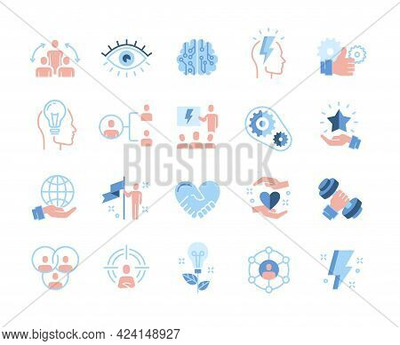 Colored Leadership Traits Icons Collection. Qualities For Success, Teamwork, Development, Personal G
