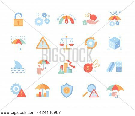 Risk Management Concept. Colored Vector Line Icons Isolated On White Background. Warnings, Market Cr