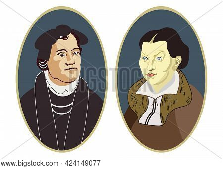Martin Luther Protestant Christian Reformatory And His Wife Kati Luther (katharina Von Bora).  Bust