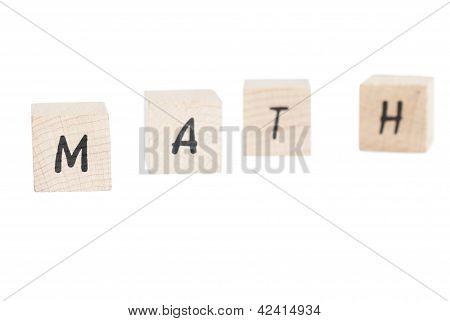 Math Written With Wooden Blocks.