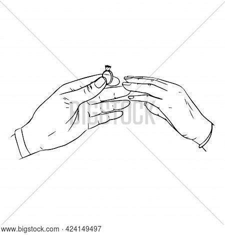 Will You Marry Me Poster. Marriage Proposal Vector Illustration With Wedding Ring And Male And Femal