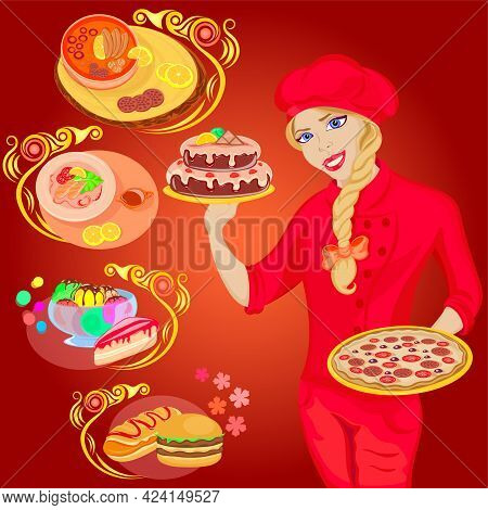An Abundance Of Exquisite Dishes, Fast Food, Created By The Chef Only For You, Vector Illustration O