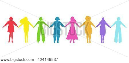 Women Holding Hands. Colored Silhouettes Of Women. International Women's Day Concept. Women's Commun