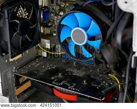 Desktop Computer Covered In Dust. Cpu Cooler And Fan In The Dust. Concept Of A Computer Service. Cle