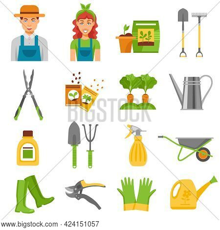 Farmers Gardening Tools Accessories Flat Icons Set With Barrow Rake And Seedlings To Plant Abstract