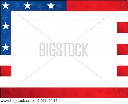 Stars And Stripe American Flag Border Template Frame