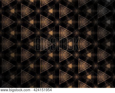 Seamless Abstract Black And Gold Textured Pattern With Kaleidoscope Effect. Symmetric Geometric Orna