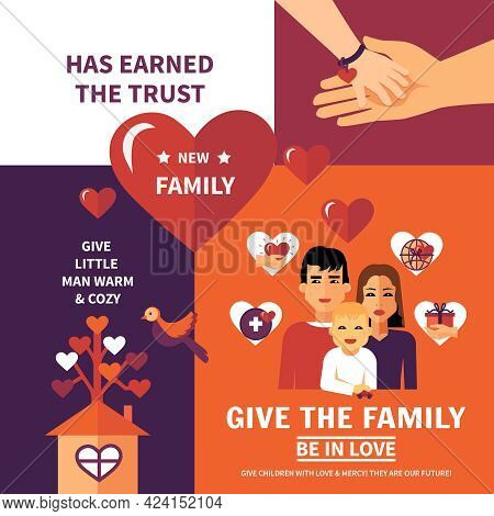 Humanitarian Aid Nonprofit Worldwide Organization Flat Banners Composition Family Adoption Poster Fo