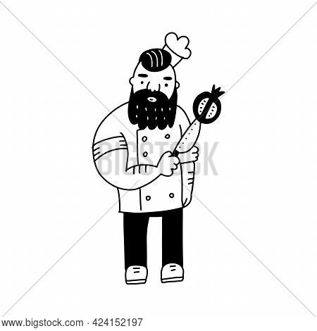 Brutal Hand Drawn Bearded Chief With Knife And Pomegranate. Cool Doodle Vactor Illustration N Black
