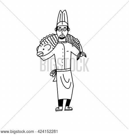 Male Cook With A Huge Fish On His Shoulders. Cartoon Doodle Character, Stick Figure, Flat Vector Ill